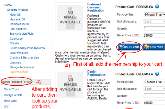 Picture of how to add the Amsoil trial preferred customer membership to your cart to get wholesale prices immediately